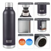 Hydra Flow Stainless Steel Vacuum Insulated Bottle - 500ml Black