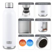 Hydra Flow Stainless Steel Vacuum Insulated Bottle - 500ml White