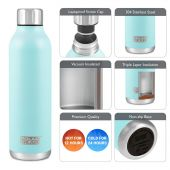 Hydra Flow Stainless Steel Vacuum Insulated Bottle - 500ml Mint