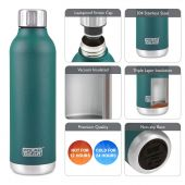 Hydra Flow Stainless Steel Vacuum Insulated Bottle - 500ml Forest Green