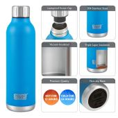 Hydra Flow Stainless Steel Vacuum Insulated Bottle - 500ml Blue