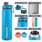 Hydra Flow Kit Stainless Steel Vacuum Insulated Bottle 700ml Blue