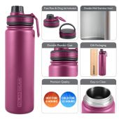 Hydra Flow Kit Stainless Steel Vacuum Insulated Bottle 700ml Berry